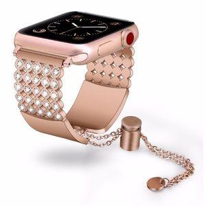 38mm Rose Gold Diamond Apple Watch Steel Band